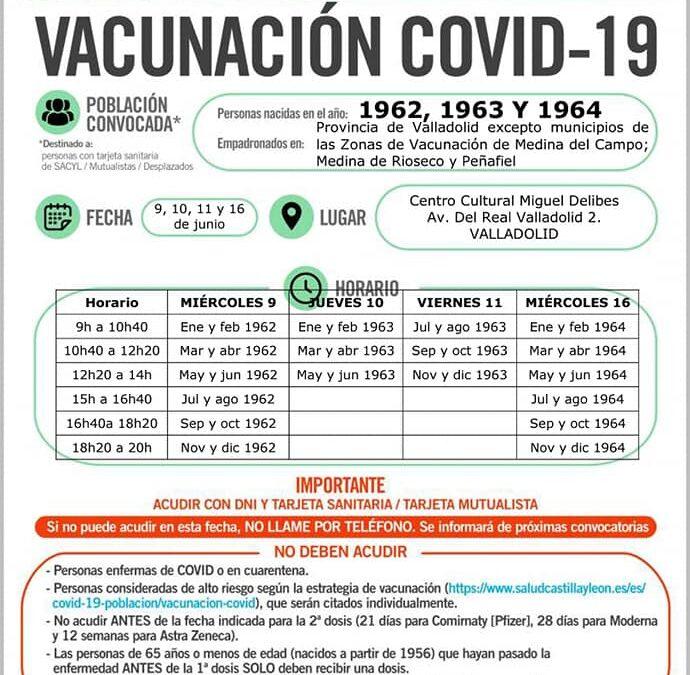 Vacunación Covid19 nacidos 1962, 1963 y 1964